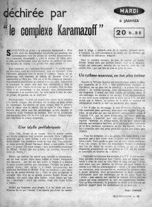 Le complexe Karamazoff. Giani Esposito télé.