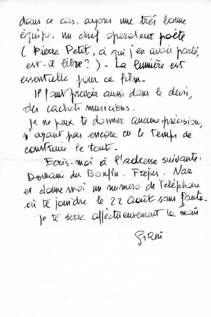 Lettre de Giani à Gérald Duduyer