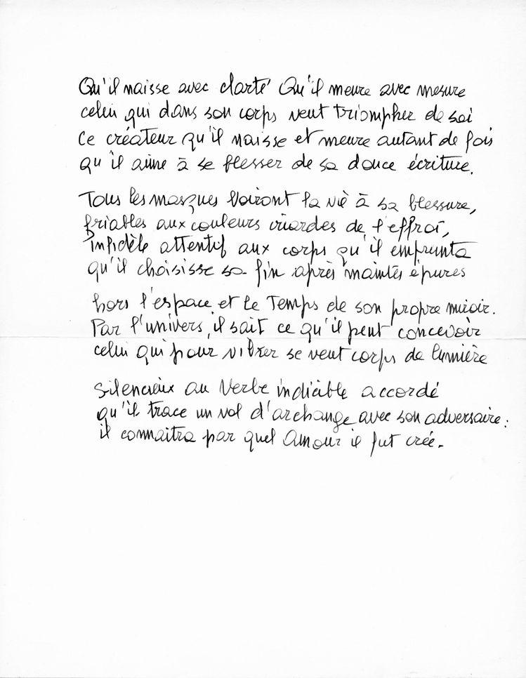 Un poème manuscrit de Giani Esposito